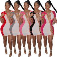 Оптовая продажа 2021 летние женские платья один кусок Sexy BING MINI платье повседневная юбка высококачественный элегантный роскошный клуб носить женщин летняя одежда Y571