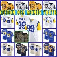 "Personalizado 9 Matthew Stafford 99 Aaron Donald Los Mens Angeles Football Rams ""Jersey Cooper Kupp Todd Gurley II Jalen Ramsey Cam Akers Cam Akers Robert Woods Mulheres Juventude"