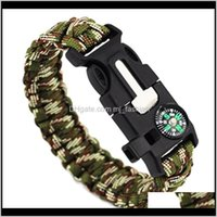 Charm Jewelrymens And Womens Outdoor Sports Camping Bracelet Important Keep Safe High Quality Paracord Bracelets With Compass 1505 Drop Deliv