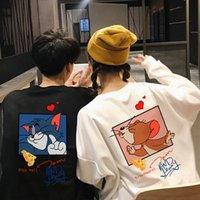 Gato Tom Tom Jerry Mouse lindo pareja ropa divertida dibujos animados impresos hombres / camiseta camiseta casual 100% kawaii manga larga jersey