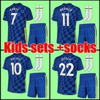 CHELSEA Kids soccer jersey establece uniforme con calcetines 21 22 WERNER PULISIC KANTE ZIYECH 2021 2022 camisetas de kits de fútbol para niños