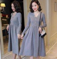 SHORHA 2019 Autumn Winter Korean Fashion Knitted Maternity Sweaters Dress Elegant Slim Clothes for Pregnant Women Pregnancy Y1010