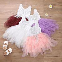 Çiçek Kız Elbise Derin V Dantel Kek Tutu Çocuklar Butik Giyim 2-6 T Çocuk Düğün Akşam Kolsuz Elbiseler