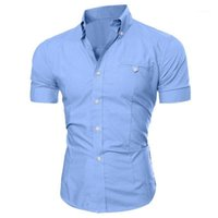 Mens Short Sleeve Shirt 2021 New Summer Fashion Sexy V-Neck Solid Color Buttons Blouse Casual Breatnable Comfortable Tee Tops1