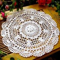Tappetini Tappetini Vintage Hollow Flower Placemat Placemat Mano pizzo crochettato portatori di pizzo tavola rotonda tazza da pranzo sottobicchieri