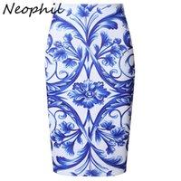 Neophil High Waist 2021 Summer Midi Pencil Skirts Ladies Vintage Chinese Style Boho Floral Print Short Saia Jupe Femme S0413 X0428