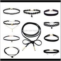 & Pendants Jewelryblack Veet Choker For Women Euramerican Gothic Black Lace Chokers Necklace Fashion Pendant Necklaces 10Pcs Set Drop Delive