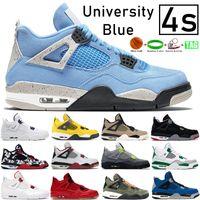 Yeni 4 4s Üniversitesi Mavi Basketbol Ayakkabıları Metalik Mor Yangın Kırmızı Paris Tur Sarı Kara Kedi Bred Unfftd SE Neon Erkek Kadın Sneakers