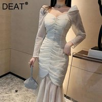 Casual Dresses DEAT 201 Women Fashion Slim Fit Square Neck Puff Sleeve Folds Patchwork Gauze High Waist Dress Summer And Autumn WS245
