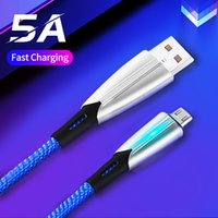 5A Quick Charge Mobile Phone Charges Cables Alloy Nylon LED Light Data Transmission Micro USB Type-C 1M with Retail Packages