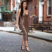 Sexy Kleid Frauen Winter V-Ausschnitt Slip Bodycon Leder Club Party Nacht Midi Backless Tight Streetwear Black Bleistift Damenkleider Lässig