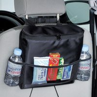 Hanging Baskets Storage For The Car Back Seat With Insulated Compartment Containing A Cool Bag