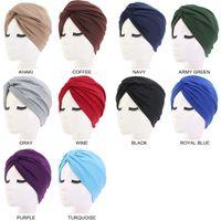 10pcs lot Women Ladies Adult Head Wrap Hair Accessories Cap Cotton Pleated Elastic Turban Hat Winter Indian Beanies