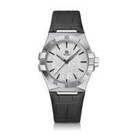 Women's Quartz Watch REQUIN Constellation Silver White Stainless Steel Case Three-Hand Silk Satin Calendar Dial Sapphire Waterproof 131.23 Leather Strap
