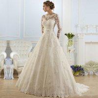 Long Sleeve Wedding Dress Ivory A Line With Sash Lace Plus Size Bridal Gowns vestidos de Dresses Gothic Grows
