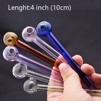 Newest cheap 4inch glass oil burner pipe Hand Smoking Pipe 10cm small Colorful Thick Pyrex Heady Glass Tobacco Water smking oil nail Pipes