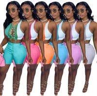 Летние женские турэты короткие наряды моды контрастные цвета шить ремни полые буксирные кусочки SEXY SLIM-FIT рубашка шорты женщин Sportswear S-XXL 936