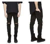 Erkek Artı Boyutu Pantolon Kot Slim Fit Yırtık Adam Erkekler Hi-Street Erkek Sıkıntılı Denim Joggers Streetwear Hip Hop Jean Diz Delikleri Yıkanmış Tahrip Pantolon 115