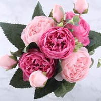 30cm Rose Pink Silk Peony Artificial Flowers Bouquet 5 Big Head and 4 Bud Cheap Fake Flowers for Home Wedding Decoration Indoor 30pcs