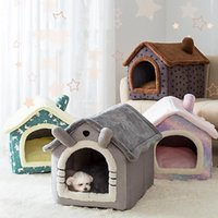 Cat Beds & Furniture Foldable Deep Sleep Pet House Indoor Winter Warm Cozy Bed For Small Dog Kitten Teddy Comfortable Kennel Supplies