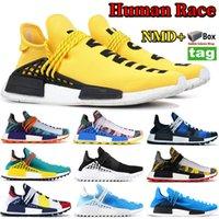 NMD Amarelo BBC Peace RAÇA HUMANA Pharrell Williams Homens Mulheres Sapatos de Grife Solar Pack Mãe Pacote de Inspiração Tênis de Corrida Com Caixa