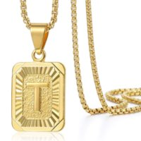 22inches Trendsmax Initial A-Z Letter Pendant Mens Womens Capital Letter Yellow Gold Plated Stainless Steel Box Chain Necklace
