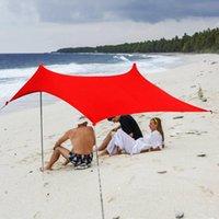 Палатки и укрытия Пляж Sunshade Легкая палатка Sun Sun Sun Sun Sun Sun Sun Hate Sandbage УФ-защита Большой портативный навес для семейного пикника