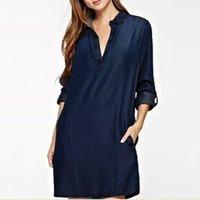 dresses 2021 women's fashion denim blue V-ne wash Lapel shirt