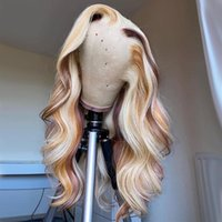 Onda corporal 613 rubia coloreado cabello humano peluca miel ombre ombre resaltado HD Transparente encaje Parte Pelucas Preplucidada Remy Brasileño