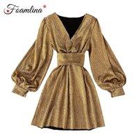 Casual kleider foamlina 2021 herbst mode sexy frauen vutel lange laterne hülse golden glitter elegante damen weihnachten party kleid vestid