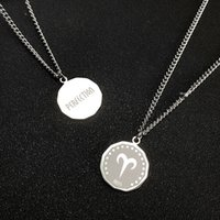 Zodiac Necklace Constellation Stainless Steel Engraved Disc Jewelry Gifts for Women