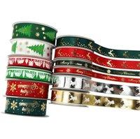 Holiday Christmas Grosgrain Ribbon Set para caja de regalo de Navidad Paquete de envolver para el pelo Accesorio de accesorios para el pelo Haciendo elaboración de la artesanía DIY 8 * 5YD GWA9426