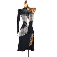 Neues lateinisches Tanzkleid Salsa Tango Chacha Ballroom Performance Stones Quaste Kleid Übungskleidung 4Colors 02