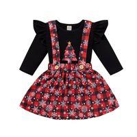 Clothing Sets 2PCS Toddler Baby Girls Outfits Christmas Xmas Tree Snowflake Printed T-shirt Tops+Plaid Suspender Skirt 6M-4T Set