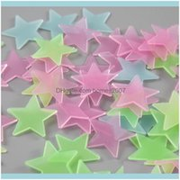 Décor & Garden100Pcs Set 3D Luminous Stars Glow In The Dark Wall Stickers For Kids Room Home Decoration Decal Wallpaper Decorative Dbc Drop