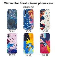 Pintura Cajas para teléfono para Apple iPhone 12 Pro Max 11 XS XR 8 7 Flor Agua Funda protectora de silicona