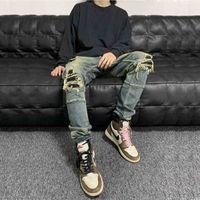 Amir Leather Knife Cut Hole Tooling Jeans Wash Stretch Mx1 High Street Pants Wu Yifan Same Style 4SV6