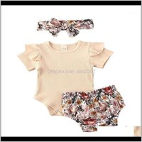 Clothing Baby, Kids & Maternityborn Baby Girls Boys Clothes Sets 3Pcs Ruffles Sleeve Solid Romper Tops+Floral Shorts+Headband1 Drop Delivery