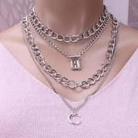 Boho Layered Chain Necklace Women Neck Chains Lock Pendant Jewelry Punk Choker Padlock Goth Grunge Aesthetic Accessories Chokers