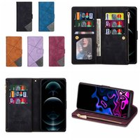 Zipper Multifunctional Leather Wallet Cases For Iphone 13 Pro Max 12 Mini 11 XS X 8 7 6 Plus Hybrid Hit Color Business Magnetic Frame ID Card Slot Holder Flip Cover Book