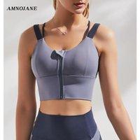 Gym Vêtements Front Zip Up Sport Sorf-Braps Push Bretelles Vest sans fil Braz confortable Bramette Yoga Femmes Crop Top Top Haute Qualité Sport