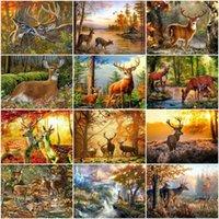 Pinturas AZQSD Picture by Number Forest Deer Desenho sobre Canvas Diy Paint Numbers Animal Kits Handpainted Modern Wall Art