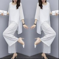 Chiffon Pantsuits Pant Suits Mother Women Tracksuits of the Bride Outfit Formal Wedding Guest Striped Wide Leg Loose Piece Sets