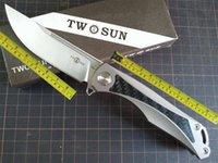 TwoSun Knives Camping Carbon Fiber Titanium Folding Pocket Flipper Knife TS212