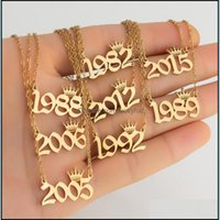 Pendant & Jewelrypersonalized Birth Number Necklaces Custom Crown Initial Necklace Pendants For Women Girls Birthday Jewelry Special Year Dr