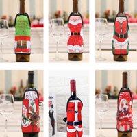 레드 와인 병 커버 맥주 병 샴페인 커버 크리스마스 파티 테이블 장식 미니 크리스마스 축제 앞치마 산타 선물 포장 장식 10pcs HH21-573