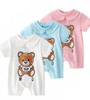Neue Sommermode Nette Neugeborene Baby Kleidung Unisex Kurzarm Baumwolle Little Print Bär BB Neugeborene Baby Jungen Mädchen Strampler