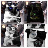 Bettwäsche-Sets 2021 3D-Katzen-Hundruckset Tier-Bettdecke-Kissenbezug-Königin King Quilt 2/3 stücke Bettwäsche