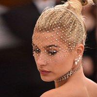 Bling White Diamond Hair Hoop Headband Veil Rhinestone Crystals Birdcage Veil Wedding Hair Combs Hair Jewelry Accesories Gift