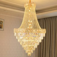 Chandeliers Luxury Modern Crystal Chandelier For Staircase Large Loft Hanging Light Fixture Gold Home Decor Cristal Lamp Living Room Lustre